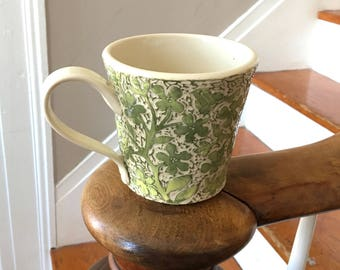 Large Mug in Yellow/Green and white with Hand Carved Flowers, Birds and a Rabbit