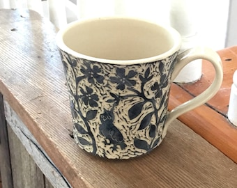 Mug/Cup with Hand Carved Dark Grey and White Flowers, Owl and a Rabbit