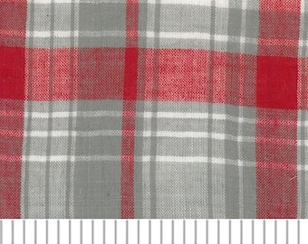 Red & Gray Madras Plaid by Fabric Finders
