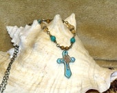 Boho Chic Turquoise Cross Necklace amber stone crystal bronze bohemian hippie style indie art jewelry