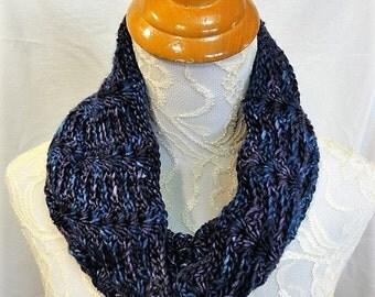 hand dyed merino silk purple dark teal navy cowl