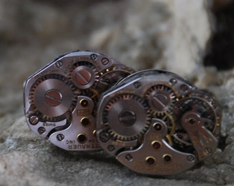25% off SALE see welcome page for details Beautiful Pair of Wittnauer Jeweled Steampunk Watch Movement Cuff links CL 48