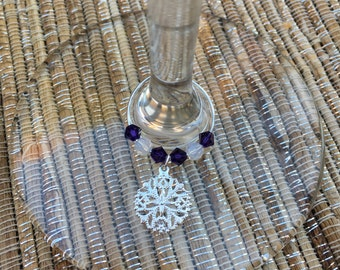 Silver Snowflake Wine Glass Charms