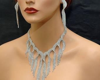 Crystal Bridal Bid Necklace, Wedding Necklace Set, Wedding Chandelier Earrings, White Rhinestone Necklace, Diamante Silver Evening Jewelry