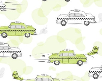 City Life by Ink & Arrow Fabrics - Taxi Cabs in Light Green (24301-H) - Ink and Arrow- 1 Yard