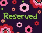 Reserved Listing for Sue Que
