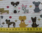 "Cotton fabric - Stray dog - 1 yard - 2 colors - dogs - sewing, Check out with code ""5YEAR"" to save 20% off"