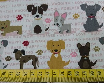 """Cotton fabric - Stray dog - 1 yard - 2 colors - dogs - sewing, Check out with code """"5YEAR"""" to save 20% off"""
