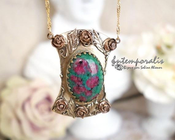 Bronze and fuschite ruby pendant, OOAK, SAPE30
