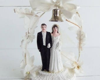 Vintage Wedding Cake Topper,  Bride and Groom Wedding Cake Ornament