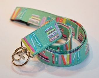 Fabric Lanyard  ID Badge Holder -  Teacher lanyard for book lover   - Breakaway safety