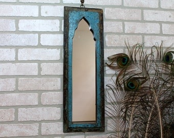 Mirror Reclaimed Vintage Indian Door Panel Wall Hanging Art Distressed Mirror Moroccan Decor Turkish Distressed Blue Large
