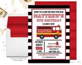 Fire Truck Birthday Invitation, Fireman Birthday Invitation, Firefighter Invitation, Fire Truck Party, Fireman Party, Firefighter Party