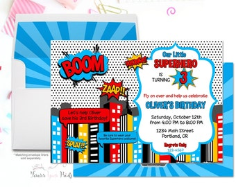 Superhero Party Invitation, Superhero Birthday Invitation, Superhero Invitation, Superhero Party Invite, Boys Birthday Invitation, Printable