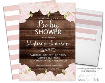 rustic floral baby shower invitation rustic baby shower invitation boho baby shower rustic