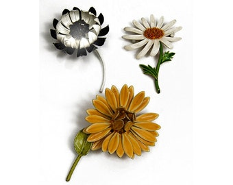 1960s Lot of  3 Assorted Enameled Flower Vintage Pins Brooches