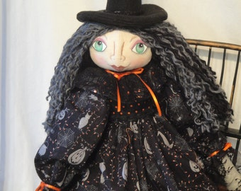 Primitive Witch Art Doll, Halloween witch, cloth art doll, black and orange colors, hand made witch cloth doll, Halloween art doll, witch