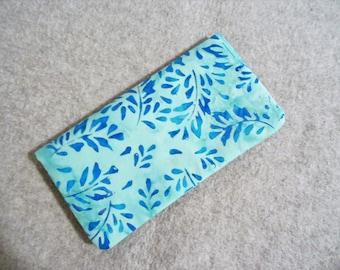 Fabric Checkbook Cover - Blue Leaf Batik