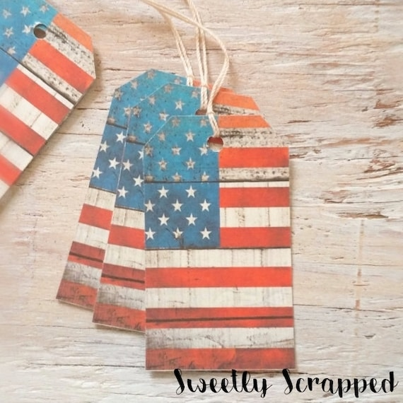 12 American Flag Tags, Wood Texture, Distressed, America, Patriotic, Independence, Labels, Packaging, Gift Tag, Favor, Goody, Travel