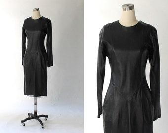 1980s Firenze Glove Leather Dress // 80s Vintage Black Long Sleeve Mid Length Dress // Medium