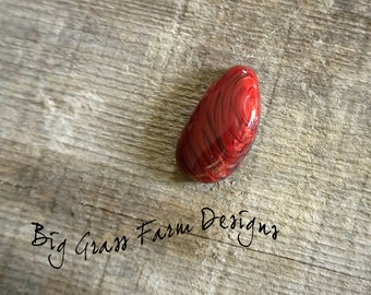 Fused Glass Cabochon, Red Swirl Oval Cab, for Wire Wrapped Pendant, Artists Jewelry Making Supplies for Bead Embroidery, Bezel Setting