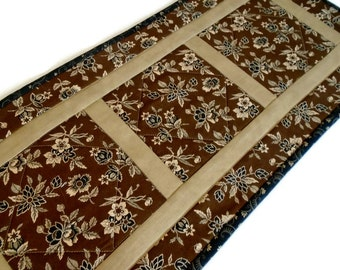 Primitive Quilted Table Runner, Quilted Table Topper, Coffee Table Runner, Civil War Reproduction Fabrics, Historical, Black Brown Tan