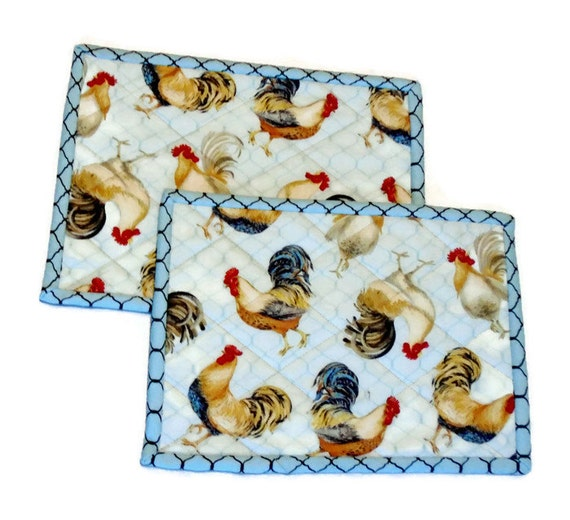 Rooster Quilted Mug Rugs Mug Mat Snack Mats Mini Placemats