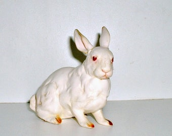 Lefton Bunny Figurine Rabbit 1960's White with Pink Easter H880 Vintage REPAIRED