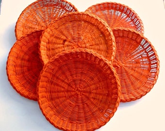 Wicker Paper Plate Holders Set of 6 Orange Color Vintage Picnic BBQ Outdoor Dining RV Camping Paper Plate Holders Lot of 6