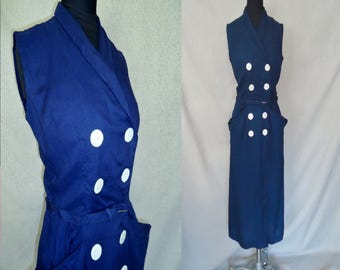 Double Breasted Navy Blue PREPPY Vintage 1950's Nautical Rockabilly Sleeveless Dress XS S