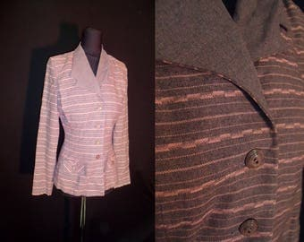 Pink & Grey Striped Vintage 1940's WWII Women's Fitted Blazer Jacket XS S