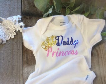 Daddy's Princess baby Onesies for shower gift or new baby gift