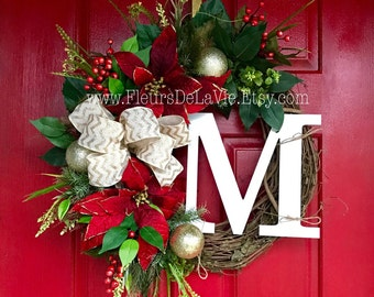 Christmas Wreath for Front Door, Christmas Wreaths,  Monogram Wreaths, Wreath for Door, Grapevine Wreath, Christmas Door Wreaths