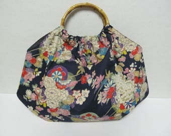 Bamboo Handle Bag/Japanese Flower Fabric