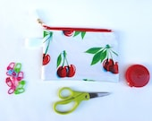 Knitting Crochet Notions Pouch Case Bag Coin Purse Wallet Oilcloth Cherries Print; Zipper, Gift Idea