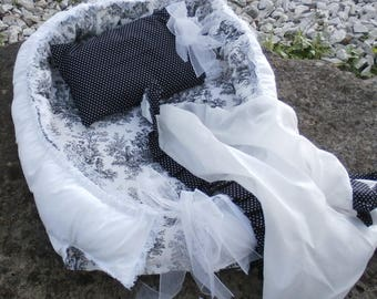 Reborn Doll Black Toile Posing Bed Cocoon Baby Nest , Pillow & Ruffled