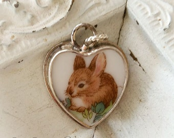 Bunny Sterling Broken China Jewelry Petite Charm or Pendant