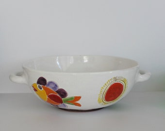 Large Vintage Desimone Italy Pottery Handled Bowl 12""