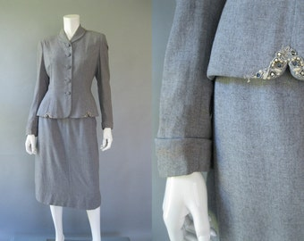 1940s Vintage Suit - Juilliard Beaded Grey Wool Suit
