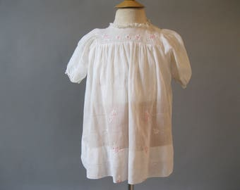 Baby Girls Clothes - Vintage 1930s Girls Dress - Pink Embroidered Cotton Dress - Size 2 - 3 Years Old