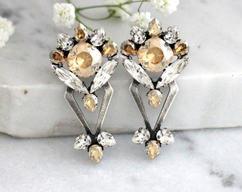 Bridal Earrings, Champagne Silver Crystal Earrings, Swarovski Champagne Earrings, Bridesmaids Earrings, Silver Antique Bridal Earrings