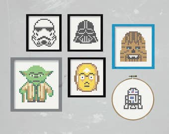 DIY Star Wars compilation five characters / embroidery Cross Stitch .pdf / Instant Download