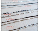 BULK Sterling Chain, ALL Lengths, Many Styles of Silver Chain Necklaces, OXIDIZED or Shiny Chain by the Foot