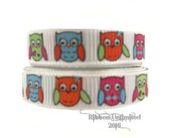 5 yds Wholesale 3/8 Inch HOOTY CUTEY OWL printed grosgrain ribbon Low Shipping Cost