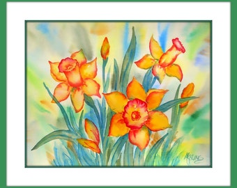 Daffodil Watercolor Golden Yellow Floral by Martha Kisling