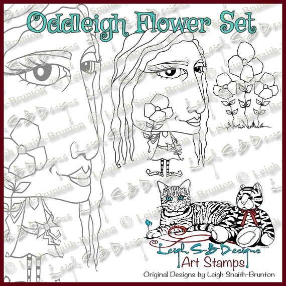Whimsical Miss Oddleigh Flower stylized quirky caricature digi stamp set of 2 images for instant download - Release Sale Price until 4/19