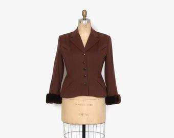 Vintage 40s BLAZER / 1940s Brown Wool Tailored Jacket with Genuine Fur Trim Cuffs L