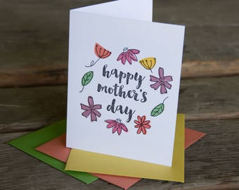 Happy Mother's Day floral wreath, letterpress printed card. Eco friendly