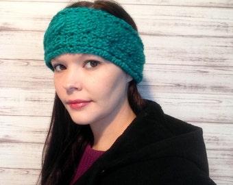 Teal Crochet Ear Warmer, Fits Teens to Women, Custom order, Custom colors, Wood buttons, Crochet headband, Ear warmer, Photo Prop