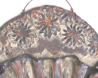 Sunflower Ceramic wall Pocket Earthy Clay Wall Vessel Rustic Pottery Wall Hanging Organic Black Clay Art Vessel Earth Tone Home Decor